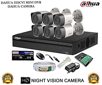 Dahua DH-HCVR4108HS-S2 8CH Dvr, 6(DH-HAC-HFW1000RP-0360B) Bullet Camera (With Mouse,2TB HDD, Cable , Bnc&Dc Connectors,Power Supply)