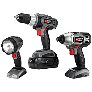 Porter Cable 3 Tool NiCd Combo Kit, Drill/Driver, Impact Driver and Flashlight 18 Volt System