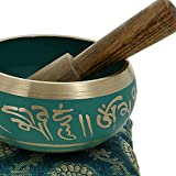 Meditation-Klangschalen-buddhistische-Kunst-grn-tibetischen-Dekor-10-Cm