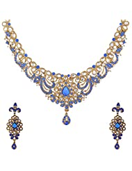 I Jewels Traditional Gold Plated Kundan Necklace Set With Maang Tikka For Women (Blue) (K7034Bl)