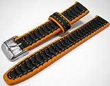 Black & Orange Rubber Waterproof Divers Watch Strap Band 20mm