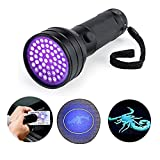 NVTED UV Ultraviolet Flashlight Blacklight, 51 LED 395 nM Handheld Portable Black light Pet Urine and Stain Detector Flashlights