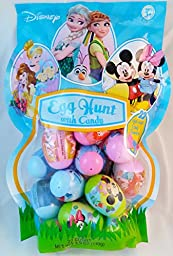 Disney Character Plastic Easter Eggs with Candy, 22 Eggs (Disney Princesses, Frozen, Mickey/Minnie Mouse)