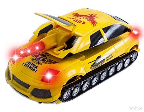 WolVol Electric Transformers Car / Shooting Tank Toy, Lights and Sound, Bump and Go action, Goes around and changes directions on contact (Battery powered) - Great Gift Toys for Boys