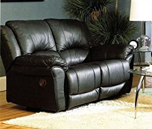 Promenade Collection Black Leather Loveseat