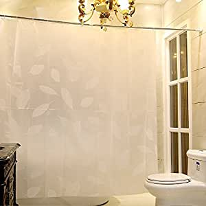 Uphome Shower Curtain White Leaf Floral Shower Curtain Or Liner Waterproof No