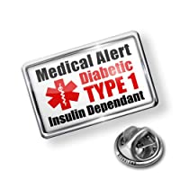 Pin Medical Alert Red Diabetic Insulin Dependant TYPE 1 - Lapel Badge - NEONBLOND by NEONBLOND