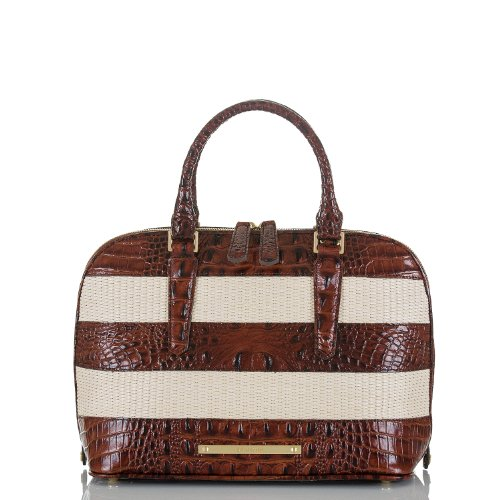 Vivian Dome Satchel<br>Pecan Raffia Vineyard