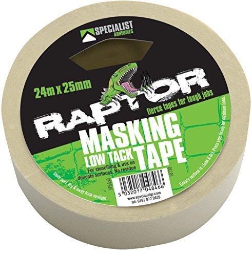 raptor-low-tack-klebeband-24meter-x-25mm-retail-pack-kommt-mit-tigerbox-antibakteriellem-stift