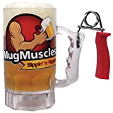 Build Your Muscles Beer Mug w/ Hand Grip Exerciser Handle - Fun Novelty Gift