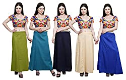 Pistaa combo of Women's Cotton Mehendi Green, Dark Rama, Navy Blue, Light Beige and Ink Blue Color Best Comfortable Inskirt Saree petticoats