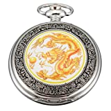 AMPM24 Mens Yellow Dragon Dangle Pendant Pocket Quartz Watch + Gift Chain WPK041