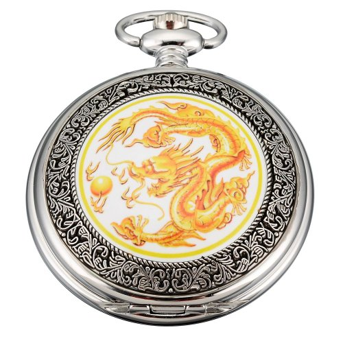 Yellow Dragon Quartz Retro Design Pocket  Watch