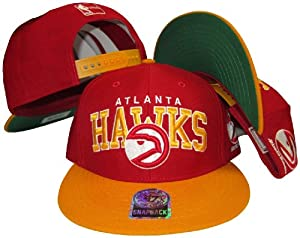 Atlanta Hawks Red Yellow Two Tone Plastic Snapback Adjustable Plastic Snap Back Hat... by Banner