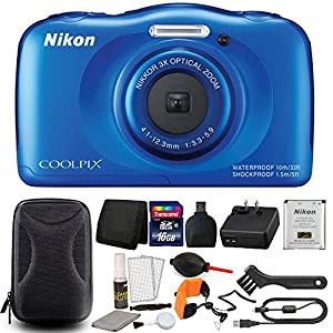 Nikon Coolpix S33 Blue Waterproof Digital Camera + All You Need Accessories