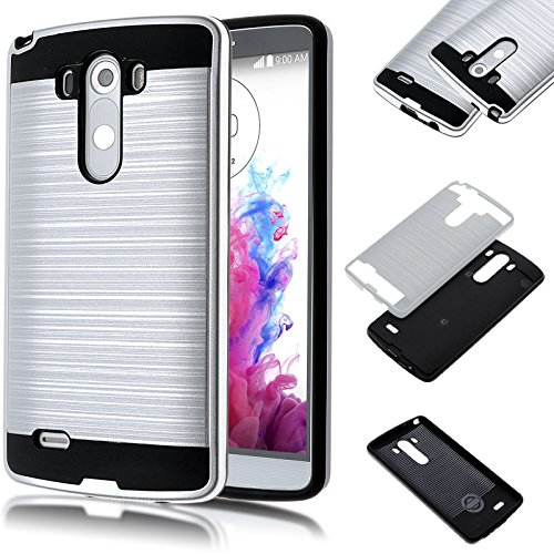 LG G3 D855 D851 Case,Kmall [Brushed Metal Texture] 2in1 Heavy Duty Shockproof High Impact Resistant Durable Full Body [Maximum Drop Protection][Slim Fit] Hybrid Case Skin Cover Shell for LG G3[Silver] (Lg 3 Accesories compare prices)