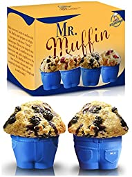 Set of 6 Mr Muffin Muffin Top Bake Cups with FREE EBook ''Gourmet Cupcakes''! Delight Your Family & Friends with these Cheeky Baking Molds! The Perfect Christmas Gift for all ages!