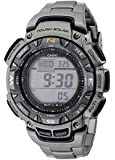 Casio Men's Core PAG240T-7 Silver Titanium Quartz Watch with Digital Dial