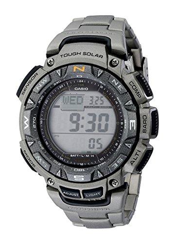 Casio Men's PAG240T-7CR Pathfinder Triple-Sensor Stainless Steel Watch with Titanium Bracelet