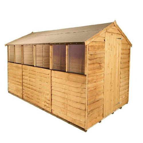 BillyOh 10ft x6ft Rustic Overlap Apex Wooden Garden Shed