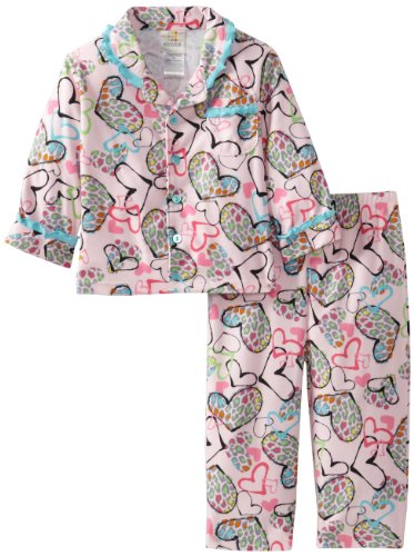 Absorba Baby-Girls Infant Hearts Pajama Set, Pink/Print, 18 Months front-706972