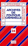 echange, troc Collectif - Archives de politique criminelle N° 24