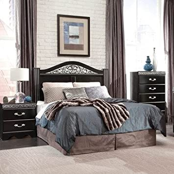 Standard Furniture Odessa Black 3 Piece Headboard Bedroom Set in Black