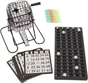 "Blue Ridge Novelty Bingo Set - 9"" Cage with Bingo Balls, Ball Rack, 18 Cards, and Chips"