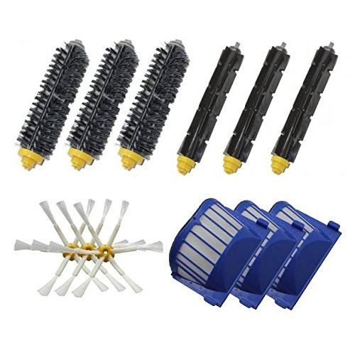 Keepfit Replacement Accessories Kit Vacuum Cleaner parts Included 3Bristle Brushes,3 Flexible Beater Brushes,3 Side Brushes,3 Aero Vac Filters for iRobot Roomba 600 Series (620 630 650 660 680) (Roomba 655 Remote compare prices)