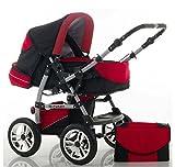 CALIDAD Carrito y Silla de paseo 2 en 1 FLASH - Todo incluido - Mucho accesorios de color Negro-Roja