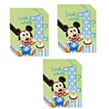 Disney Mickey Mouse 1st Birthday Party Invitations - 24 Guests