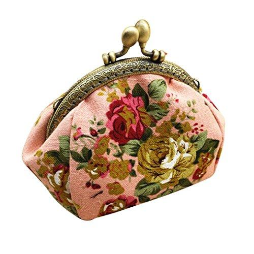 Fortan Signora Women Fashion Retro fiore dell'annata piccolo portafoglio Hasp della borsa della frizione (Rosa)