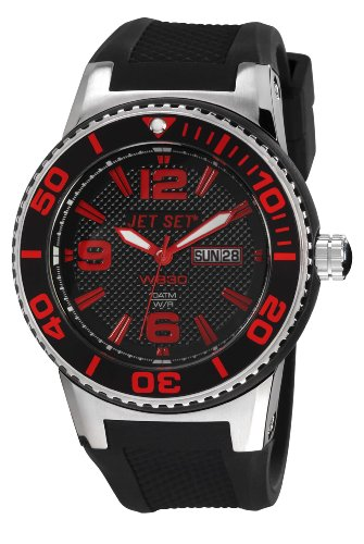 Jet Set J55454-867 - Reloj analógico de cuarzo unisex con correa de caucho, color negro