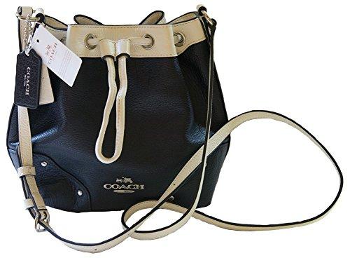 Image of Coach Spectator Leather Baby Mickie Drawstring Crossbody Handbag SV/Midnight/Chalk