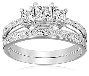 Kobelli 1 1/6 cttw Three Stone Princess Diamond Wedding Ring Set, Size 4