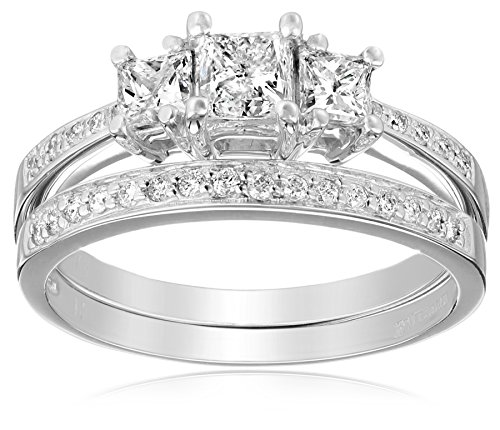 Kobelli-1-16-cttw-Three-Stone-Princess-Diamond-Wedding-Ring-Set