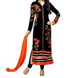 MK Enterprise black rose georgette partywear salwar suit dress material