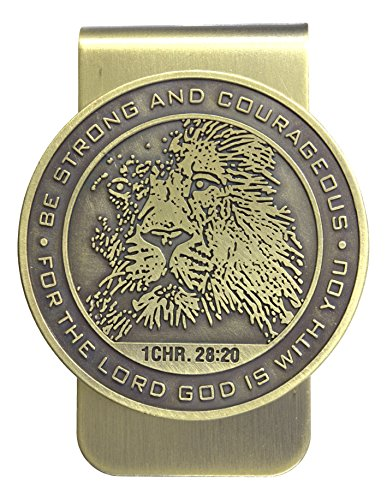 Dicksons Lion and Scripture Money Clip - Be Strong and Courageous 1 Chronicles 28:20