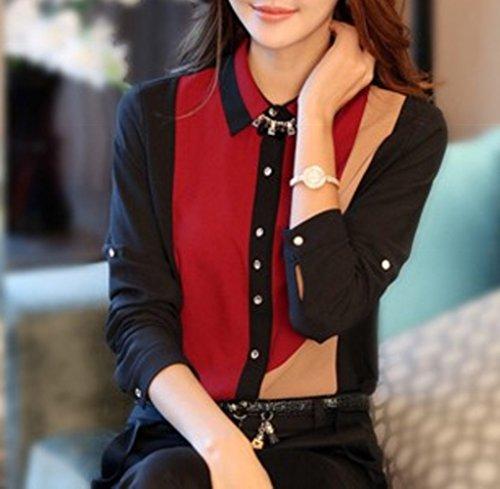 しあわせ倉庫 レディース シフォン シャツ 長袖 折襟 エレガント フォーマル (XL, レッド)