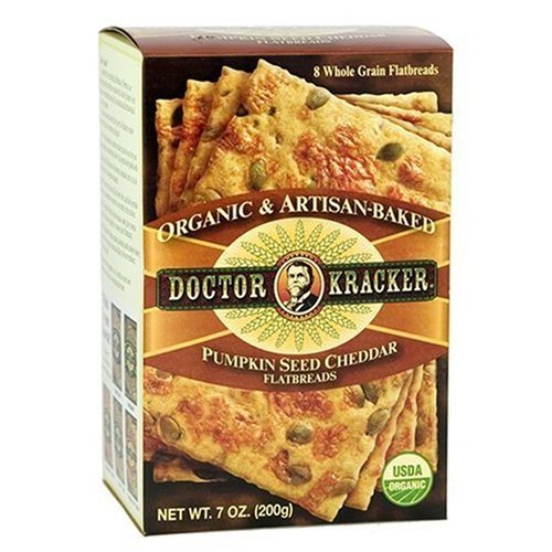 Doctor Kracker Organic and Artisan-Baked Flatbread, Pumpkin Seed Cheddar, 7-Ounce Boxes (Pack of 6)