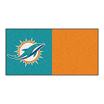 FANMATS NFL Miami Dolphins Nylon Face Team Carpet Tiles