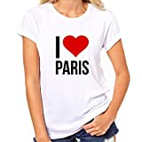 I Love Paris T-Shirt Womens Classic T-Shirt Medium for sale  Delivered anywhere in Ireland