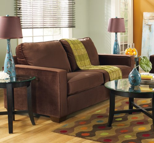 Buy Low Price AtHomeMart 2 PCs Contemporary Design Walnut Upholstery Sofa and Loveseat Set (ASLY1074338-1074335)