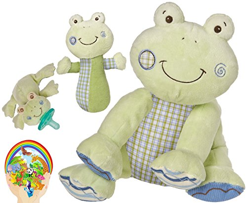 Mary Meyer Baby Boy Favorites: Cheery Cheeks Hop Hop Frog Toy, Rattle, And Wubbanub Pacifier - Pastel Green Newborn Set Of 3 With Bonus Animals Sticker