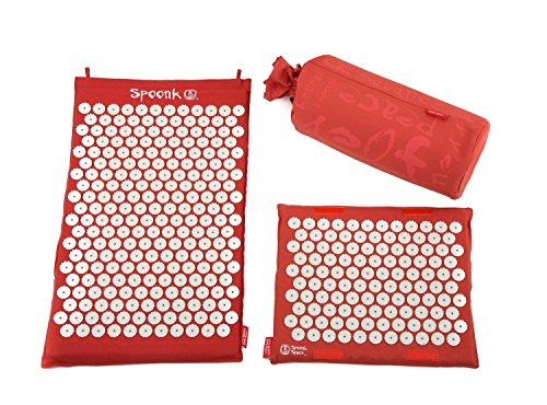 Hemp Spoonk Acupressure Mat+ Headrest/Eco Foam Usa Made/ Relieve Muscle Tension And Pain/ Reduce Stress And Anxiety/ Use After Workouts/ Boost Digestion/ Oprah O List 2013 - Saffron Red