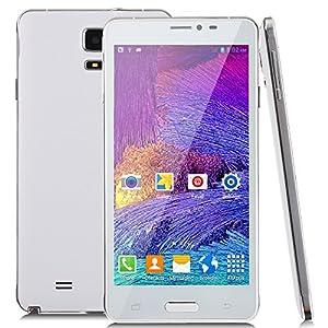 Jiake V11 Unlocked 5.5 Inch Android 4.4.2 3G Smartphone Phablet 1.2 G HZ Dual Core MTK6572 Dual SIM Dual Standby GPS Cellphone WIFI WAP Bluetooth Google APPs (White)
