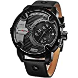 WEODE® Men Army Military Sport Quartz Watch Wristwatch, Genuine Leather Band, Stainless Steel 190021