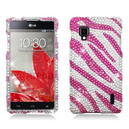 Aimo LGLS970PCLDI686 Dazzling Diamond Bling Case for LG Optimus G LS970 - Retail Packaging - Zebra Hot Pink/White (Lg Ls970 Case compare prices)