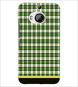 PrintDhaba Check Pattern D-1506 Back Case Cover for HTC ONE M9 PLUS (Multi-Coloured)