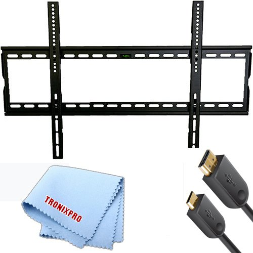 """Universal Ultra Slim Flat Screen Tv Wall Mount For 32""""- 60"""" Tvs + Gold Plated 6' Foot Hdmi Cable + Lcd Tv Screen Microfiber Cleaning Cloth"""